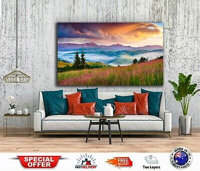 LOVELY MOUNTAINS WITH FLOWERS-Australian made framed Stretched wall Canvas