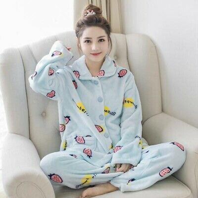 Ladies Button Down Pyjamas Set Flannel Fleece Warm Long Sleeve Animal Nightwear