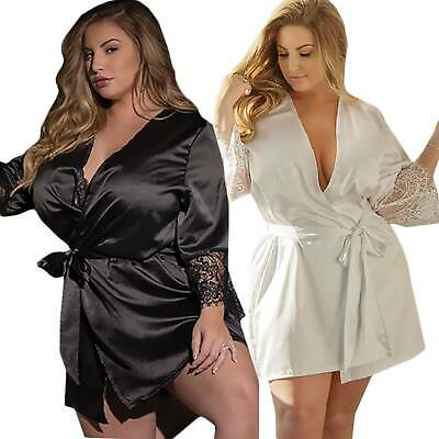 Women Satin Silk Robe Nightie Gown Dress Lingerie Nightdress Nightgown Sleepwear