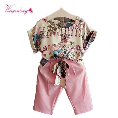 Summer Toddler Baby Girls Outfits Clothes Short Sleeve T-shirt Tops + Shorts Clo