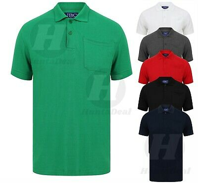 Plain Cotton Pique Polo Shirt with Pocket Small to 5XL Big Size Casual Heavy New