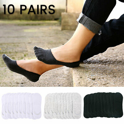 10Pairs Men Women Invisible Low Cut No Show Footlet Socks Cotton Rich No-Slip