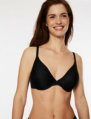Marks & Spencer M&S Body Smoothing Lace Non-Padded Underwired Plunge Black Bra #