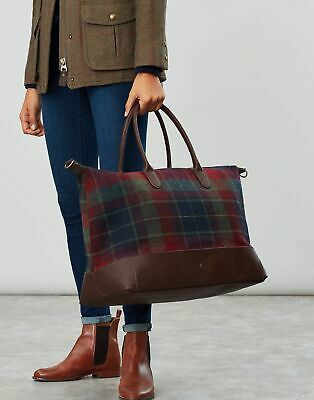 Joules Womens Paddington Tweed Holdall Bag in RED MULTI CHECK in One Size