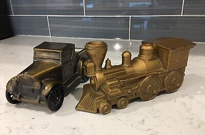 1970's Banthrico Inc Vintage Cast Metal 1928 Chevy Truck & Locomotive Train