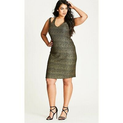 NWT WOMENS PLUS Size Nordstrom City Chic Gold Metallic Glam ...