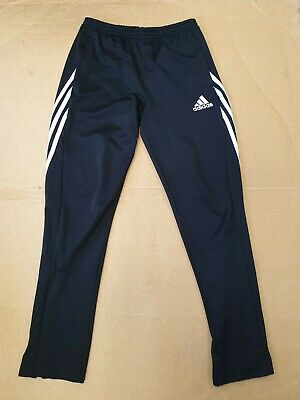 D646 Boys Adidas Black White Tapered Tracksuit Bottoms Xl Age 15-16 Yrs W30 L30