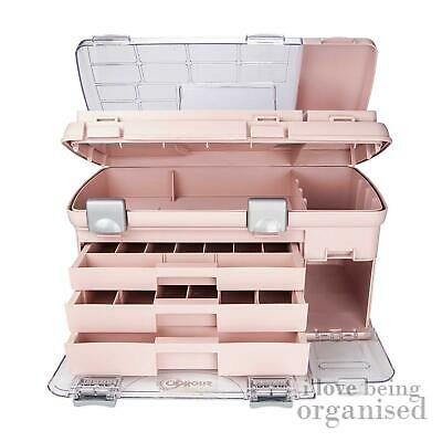 Large Creative Options Three Draw Pink Craft Carry Storage System