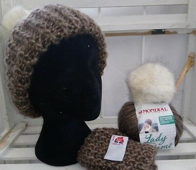 Pompom hat knitting kit with faux fur pompom