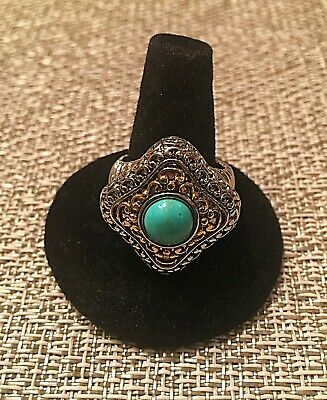 This Beautiful Silver Plated with Turquoise Stone Size 8