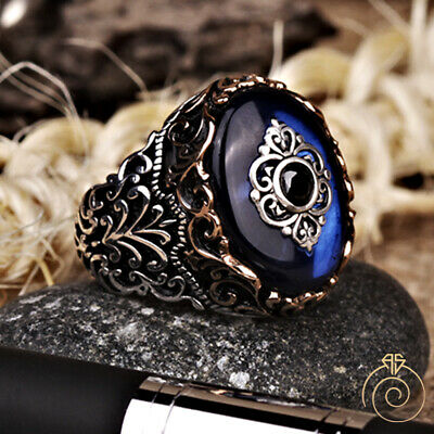 Blue Stone Men's Ring Sapphire Vintage Islamic Silver Wedding Band Goth Jewelry