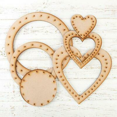 Craft Buddy FOREVER FLOWERZ Set of 6 MDF WREATH Hearts & Circles