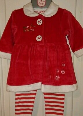 Baby Girls Christmas Outfit dress and leggings set Age 9-12 months xmas BNWT