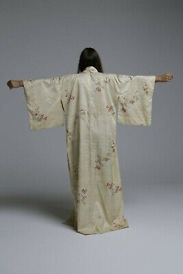 Vintage Traditional Authentic floral Kimono with yellow ombre lining