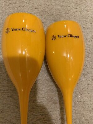 Yellow Label Flute Acrylic Champagne Veuve Clicquot Glasses New Set of 2 Two