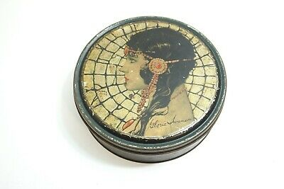 "Vintage 1920'S Gloria Swanson Art Deco 7 3/4"" Beautebox Canco Tin By Henry Clive"