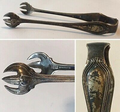 """Antique TOWLE SILVERSMITHS Sterling Silver PAUL REVERE Pattern 4"""" Sugar Tongs"""