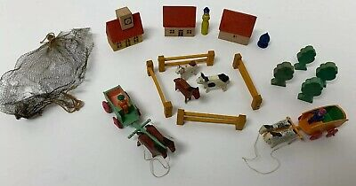 Antique German Miniature Hand Carved Painted Wooden Village Horses Houses Lot