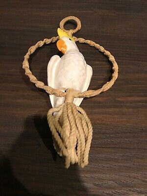 Vintage Macrame Hoop With Ceramic Bird