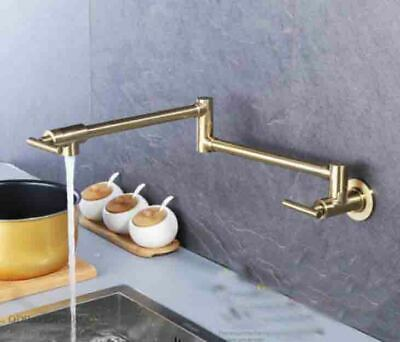 Kitchen Pot Filler Faucet Wall Mount Brushed Gold and Dual Swing Joints Design