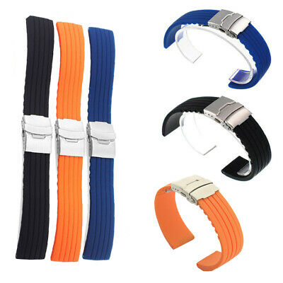 18/20/22/24mm Waterproof Watch Strap Band Silicone Rubber Deployment Buckle