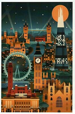 London England Retro Skyline, Big Ben, Tower Bridge, Eye UK etc. Modern Postcard