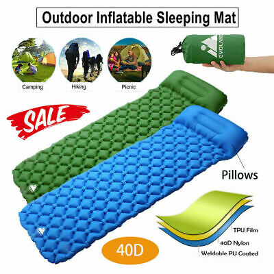 Inflatable Sleeping Mat Ultralight Camping Air Pad Roll Bed Mattress With Pillow