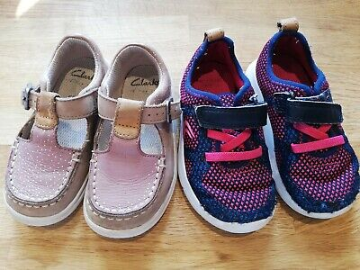 Clarks Girls Infant 5.5f Blue Trainers Pink T Bar Cloud Rosa leather Shoes 2-3y