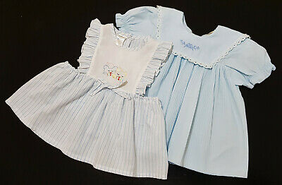 TWO x VINTAGE 1980's BABY (REBORN DOLL) DRESSES, 6 - 12 MONTHS