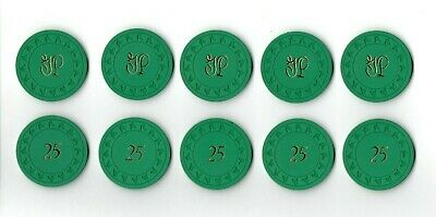 (5)Vintage 1940's 50's GULFSTREAM PARK Green $25 Casino Blackjack Poker Chip Lot