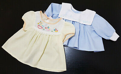 TWO x VINTAGE 1960,70's BABY TOPS / DRESSES (REBORN DOLL) DRESSES, 6 - 12 MONTHS