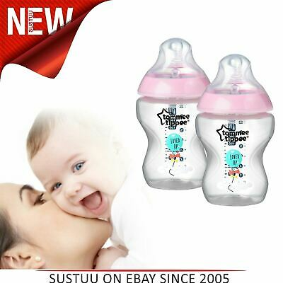 Tommee Tippee Decorated Baby Feeding Silicone Teat Bottles¦260ml¦2pk¦Pink
