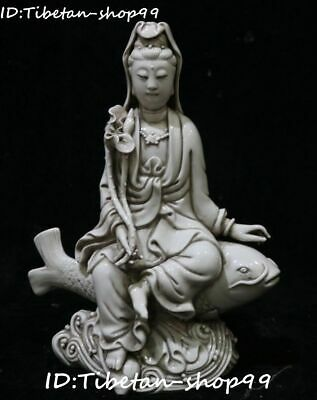Dehua Porcelain Lotus Ruyi Kwan-yin Guanyin Quan Yin Seat On Fish Animal Statue