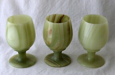3 Large Vintage Onyx Agate Wine Glasses Excellent Used Condition