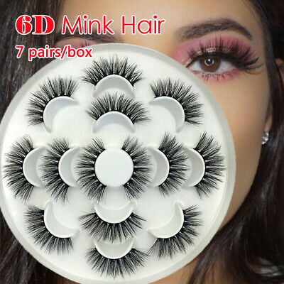 7 Pairs Natural False Eyelashes Long Thick Cross Makeup Eye Lashes Set 3D Mink