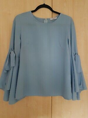 Womans Baby Blue Top With Flaired Sleeves One Size