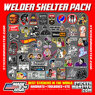 WELDER SKELTER PACK 40+ Hard Hat Stickers HardHat Sticker & Decals, Welding Hood