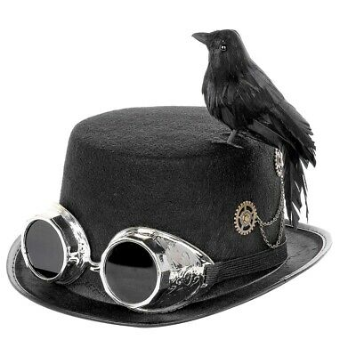 DIY Steampunk Black Top Hat with Goggles Costume Accessory Halloween Decor UK