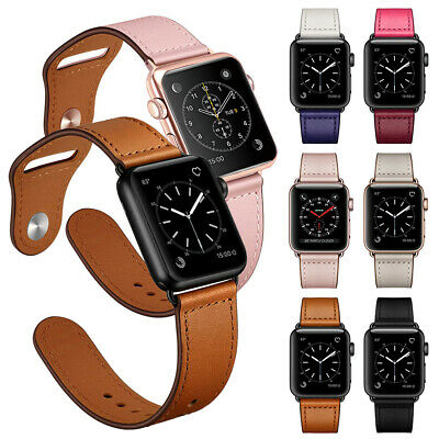 40/44mm Genuine Leather Apple Watch Band Strap for iWatch Series 5 4 3 2 1 42mm