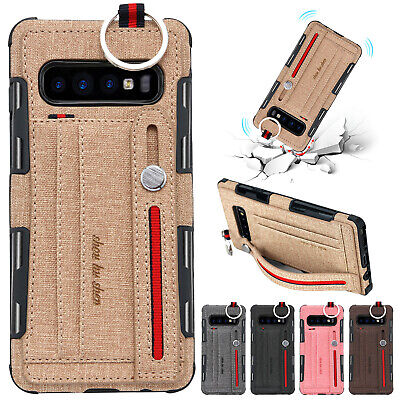 For Samsung Note 10+ Case S9 Plus S8 S10 Hybrid Shockproof Card Slot Stand Cover