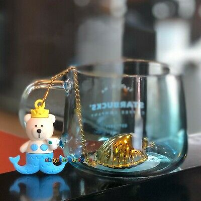 Starbucks Glass Cup 2019 China 430ml Anniversary Mermaid Bear Tea Hold Set