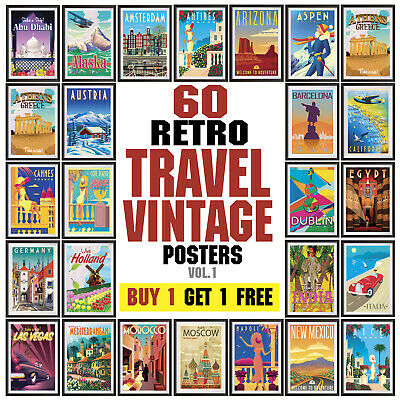 Vintage Travel Poster, Retro Wall Art Deco posters, Vol. 1