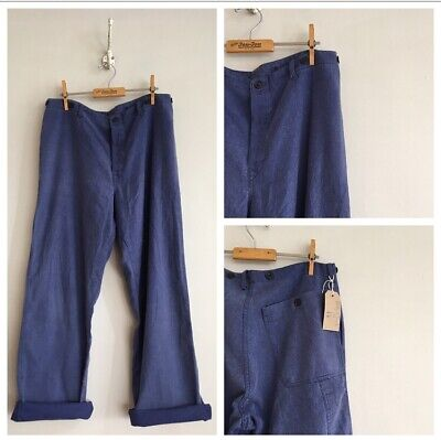 "True Vintage Blue Slub Cotton Chore Workwear Trousers Artisan Pants W33"" S M"