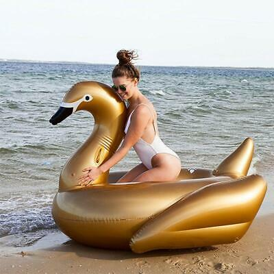 130CM Giant Gold Swan Ride-On Inflatable Pool Float 2018 Summer Water Party O...