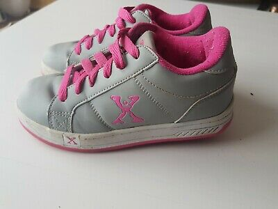 Girls Heelys X Side Walk Sports Size 1 Grey-pink VGC