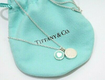 Tiffany & Co. Sterling Silver Circle Duo Blue Enamel Heart Pendant Necklace