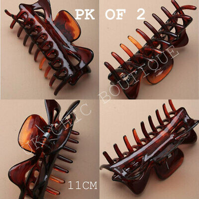 Set Of 2 Tort Brown Large Hair Claw Clip Clamp Grip Curved Teeth Sausage claw 22