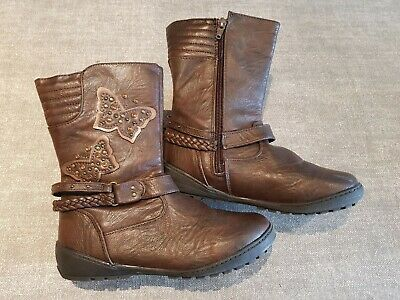 Tu size 2 (34) brown faux leather side zip mid calf boots