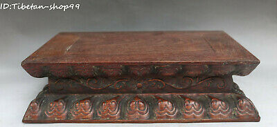"12"" Unique Chinese Huanghuali Wood Hand Carving Lotus Buddha Base Stand Statue"