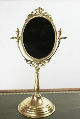Vintage Brass Stand Vanity Mirror - FREE Shipping [5523]